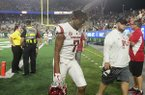 Arkansas receiver Jonathan Nance leaves the field following the Razorbacks' 34-27 loss to Colorado State on Saturday, Sept. 8, 2018, in Fort Collins, Colo.