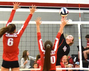 Rick Peck/Special to McDonald County Press McDonald County's Ember Killion hits a spike during the Lady Mustangs' 25-15, 25-18 loss to Webb City on Sept. 6 at MCHS.