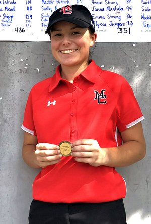 Rick Peck/Special to McDonald County Press McDonald County's Lily Allman received the first-place medal for winning the Marshfield High School Girls' Golf Tournament held Sept. 4 at Whispering Oaks Golf Course in Marshfield.