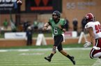 North Texas quarterback Mason Fine (6) throws a pass against Incarnate Word during an NCAA college football game Saturday, Sept. 8, 2018, in Denton, Texas. (Jake King/The Denton Record-Chronicle via AP)