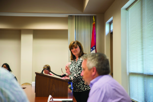 Becky Ives, chairman of the Southwest Arkansas Workforce Development Board speaks Thursday at the Southwest Arkansas Planning and Development District building in Magnolia during the organization's quarterly board meeting.