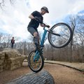 Ryan Bratton of Bentonville practices his skills on Sunday Feb. 28, 2016 during a NWA Bike Trials gr...