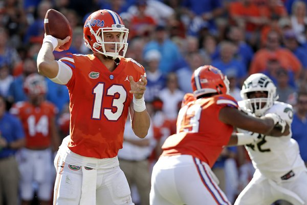 Florida quarterback Feleipe Franks (13) throws a pass against Colorado State during the first half of an NCAA college football game, Saturday, Sept. 15, 2018, in Gainesville, Fla. (AP Photo/John Raoux)