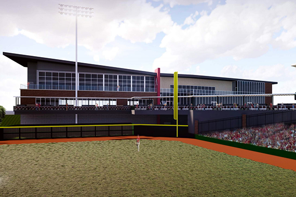 An artist's rendering shows a proposed baseball operations building on the southwest side of Baum Stadium in Fayetteville.