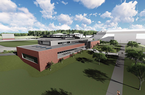 An artist's rendering shows a proposed track operations building on the University of Arkansas campus in Fayetteville. The white outline in the background is the west side of Bud Walton Arena.