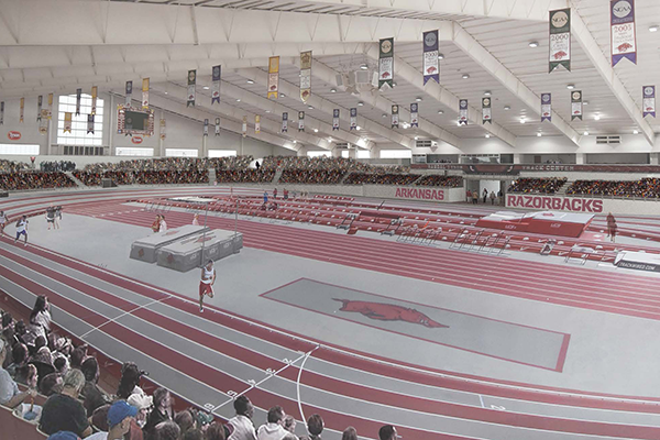 An artist's rendering shows Randal Tyson Track Center in Fayetteville following a proposed renovation to the facility.