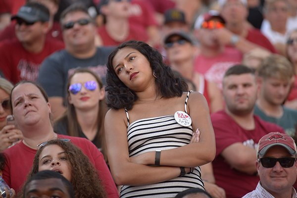Arkansas fans react after a North Texas score Saturday, Sept. 15, 2018, during the second quarter at Razorback Stadium in Fayetteville. Visit nwadg.com/photos to see more photographs from the game.