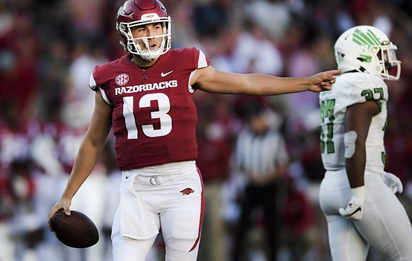 Arkansas quarterback Connor Noland points during a game against North Texas on Saturday, Sept. 15, 2018, in Fayetteville.