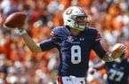 Auburn quarterback Jarrett Stidham (8) throws a pass during the first half of an NCAA college football game against LSU, Saturday, Sept. 15, 2018, in Auburn, Ala. (AP Photo/Butch Dill)