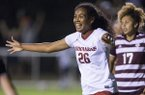 Bryana Hunter of Arkansas celebrates after scoring a goal in the second half of a match against Texas A&M on Thursday, Sept. 20, 2018, at Razorback Field in Fayetteville.