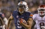 Anthony Schwartz, Auburn wide receiver, runs after a catch in the 2nd quarter vs Arkansas Saturday, Sept. 22, 2018, at Jordan-Hare Stadium in Auburn, Ala.