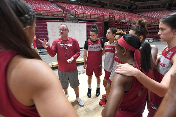 NWA Democrat-Gazette/J.T. WAMPLER Head coach Mike Neighbors talks to his team during practice Monday Oct. 1, 2018 at Bud Walton Arena in Fayetteville.