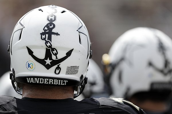 The Vanderbilt anchor decorates a helmet in the first half of an NCAA  college football game b4d1b868ae4