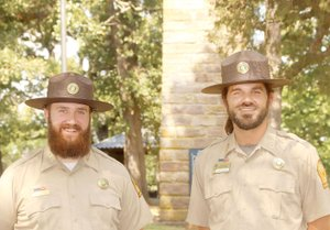 LYNN KUTTER ENTERPRISE-LEADER Matt Mulheran, left, and Bart Taylor are the new park interpreters at Prairie Grove Battlefield State Park. Both also are Civil War re-enactors.