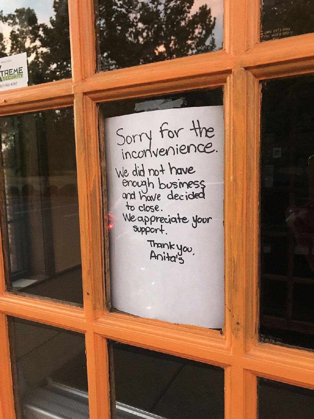 Anita's Cantina & Grill, 6 Mabelvale Plaza Drive, has closed; a sign on the door explains low customer turnout is the reason.