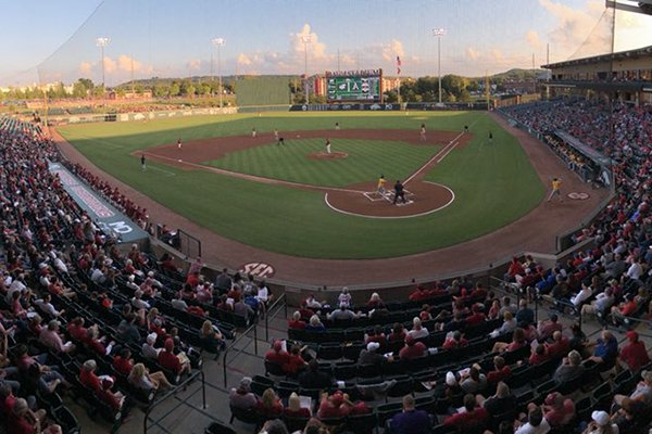 A shot of the crowd at Baum Stadium for the Razorbacks' first exhibition of the fall against Wichita State.