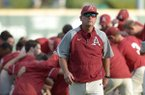 Arkansas coach Dave Van Horn returns to the dugout before the start of play against Wichita State Friday, Oct. 5, 2018, at Baum Stadium in Fayetteville.