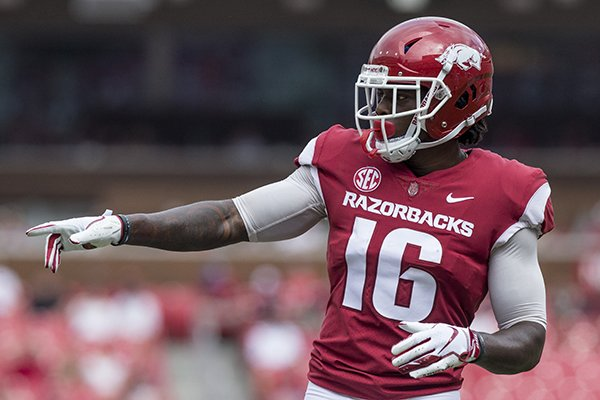 Arkansas receiver La'Michael Pettway is shown during a game against Alabama on Saturday, Oct. 6, 2018, in Fayetteville.