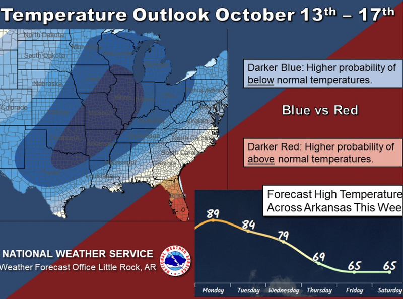 Little Rock Weather Map.First Taste Of Fall On Tap For Arkansas As Cooler Weather Moves In