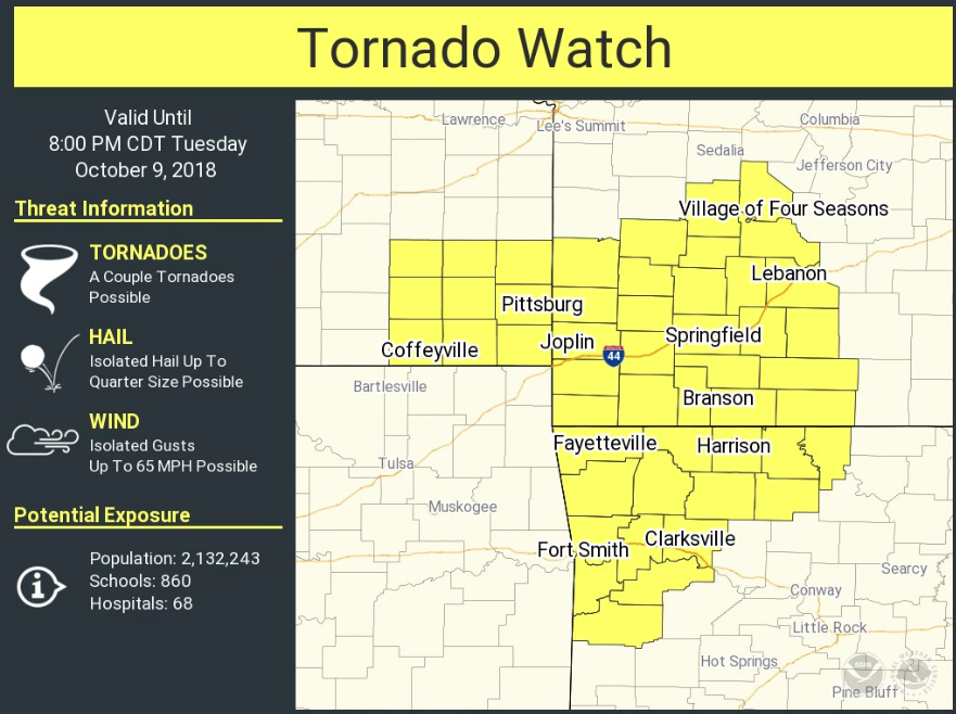 Tornado touches down near Ozark; tornado watch issued for Northwest Arkansas