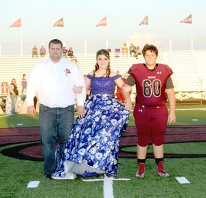 Photo courtesy of LifeTouch National Studios/Lincoln freshman maid Honesty Rice, daughter of Jonathan and Kimberly Rice, escorted by her father, and junior Kade Gibson, son of Adam and Anna Yiamkis.