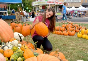 Janelle Jessen/Herald-Leader Abbey Johnson of Siloam Springs picked out the perfect pumpkin at the pumpkin patch, owned by Kevin Edmondson of Gentry, during the Homegrown Festival in downtown Siloam Springs on Saturday. For more pictures of the festival, see page 6A.