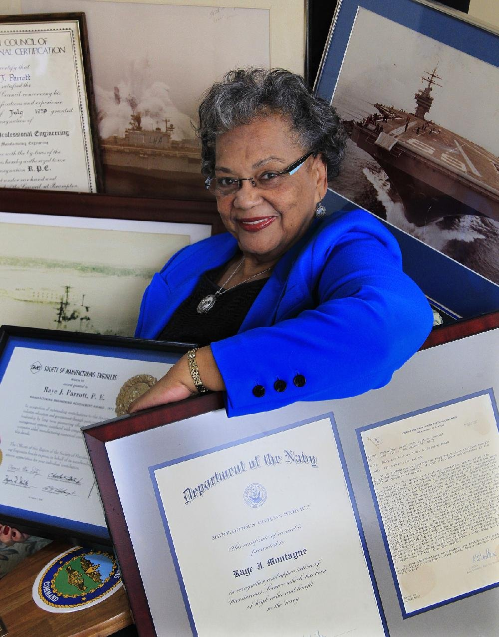 Raye Montague is shown in this file photo. Raye Montague is credited with creating the first computer generated draft of the specifications for building a U.S. Navy frigate still in use today. She broke barriers of race and gender. In 1972, she was awarded the Navy's Meritorious Civilian Service Award; she was the first woman to receive the Society of Manufacturing Engineers Achievement Award.