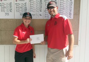RICK PECK/SPECIAL TO MCDONALD COUNTY PRESS McDonald County's Lily Allman finished in a tie for sixth place at the Missouri Class 2 Sectional 3 Golf Championships on Monday at Shifferdecker Golf Course in Joplin to earn a berth at next week's state championships in Kansas City. Coach Kyle Fields presents Alllman with her qualifier's packet following Monday's tournament.