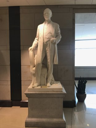 "This May 11 photo shows a statue of James P. Clarke, an Arkansas governor and U.S. senator, at the U.S. Capitol in Washington. A Democrat running for a congressional seat in Arkansas says the statue of his great-great grandfather should be removed from the U.S. Capitol, condemning his ancestor's statement that the South looked to the Democratic Party to preserve ""white standards."" (AP Photo/Andrew DeMillo)"