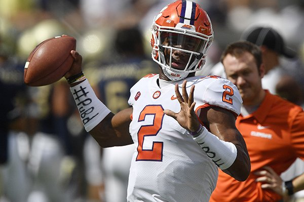 Clemson quarterback Kelly Bryant (2) warms up before the first half of an NCAA college football game between Georgia Tech and Clemson, Saturday, Sept. 22, 2018, in Atlanta. (AP Photo/Mike Stewart)