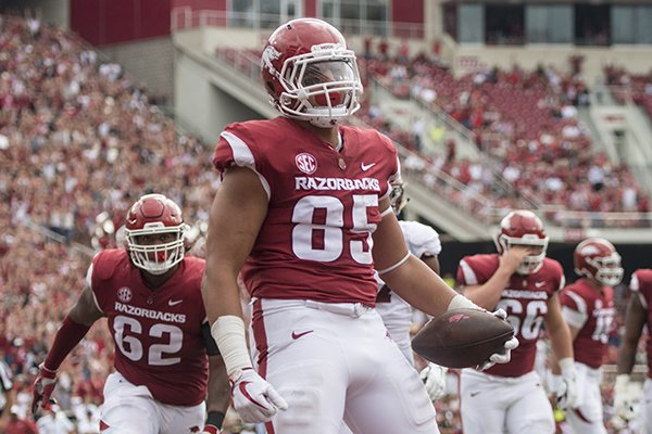 Cheyenne O'Grady, Arkansas tight end, reacts after catching touchdown pass in the 2nd quarter Saturday, Oct. 6, 2018, at Razorback Stadium in Fayetteville.