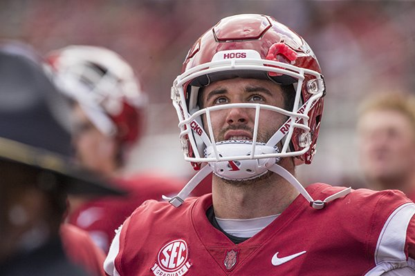 Arkansas quarterback Ty Storey looks toward the video board during a game against Alabama on Saturday, Oct. 6, 2018, in Fayetteville.