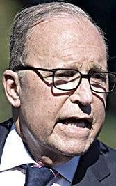 National Economic Council Director Larry Kudlow speaks to reporters outside the White House, in Washington, Oct. 12, 2018.