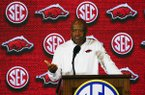 Arkansas coach Mike Anderson speaks during the Southeastern Conference men's NCAA college basketball media day, Wednesday, Oct. 17, 2018, in Birmingham, Ala. (AP Photo/Butch Dill)