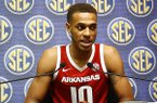 Arkansas player Daniel Gafford speaks to media during the SEC men's NCAA college basketball media day, Wednesday, Oct. 17, 2018, in Birmingham, Ala. (AP Photo/Butch Dill)