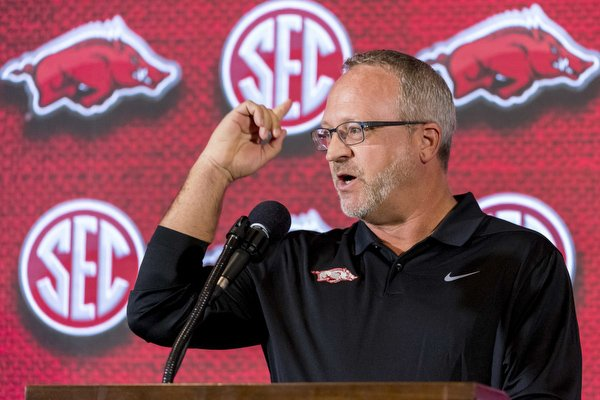 Arkansas head coach Mike Neighbors speaks with the media during the Southeastern Conference women's NCAA college basketball media day, Thursday, Oct. 18, 2018, in Birmingham, Ala.