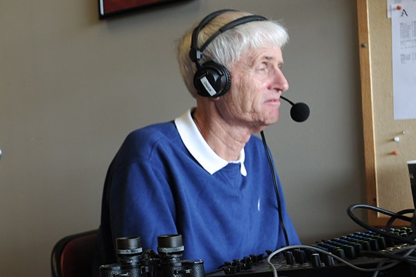 Rick Schaeffer is shown calling a baseball game between Arkansas and Miami (Ohio) on Saturday, Feb. 18, 2017, in Fayetteville.