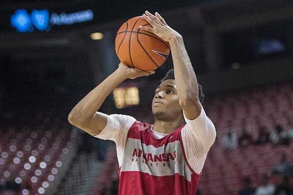 Arkansas guard Isaiah Joe shoots the ball during an exhibition game Friday, Oct. 19, 2018, in Fayetteville.