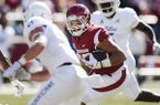 Arkansas tight end Cheyenne O'Grady (85) carries the ball during the first quarter of a football game against Tulsa on Saturday, Oct. 20, 2018, at Donald W. Reynolds Razorback Stadium in Fayetteville.