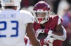 Arkansas running back Rakeem Boyd carries the ball during a game against Tulsa on Saturday, Oct. 20, 2018, in Fayetteville.