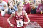 Arkansas freshman Katrina Robinson runs at the Chile Pepper Festival on Saturday, Sept. 22, 2018, in Fayetteville.