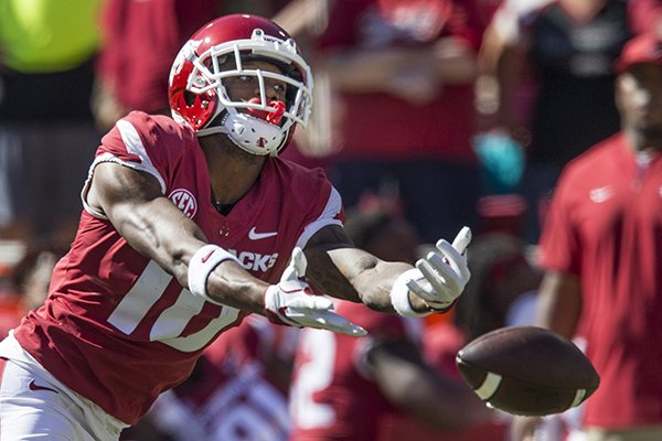Arkansas receiver Jordan Jones reaches for a ball during the third quarter of a game against Vanderbilt on Saturday, Oct. 27, 2018, in Fayetteville. The pass was incomplete.