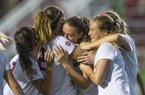 Madison Louk (from left), Kayla McKeon, Tori Cannata and Stefani Doyle of Arkansas celebrate after a goal by Cannata in the second half vs Texas A&M Thursday, Sept. 20, 2018, at Razorback Field in Fayetteville.