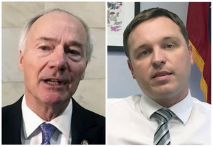 FILE - This combination of file photos shows Republican Arkansas Gov. Asa Hutchinson, left, and Democrat Jared Henderson, his challenger for the governor's seat in the November 2018 election. (AP Photo/Andrew DeMillo, File)