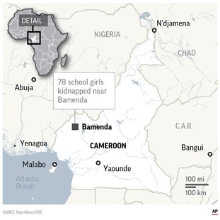 The Associated Press KIDNAPPING: The students and their principal were taken from a Presbyterian school in Nkwen village in Cameroon's northwest region.