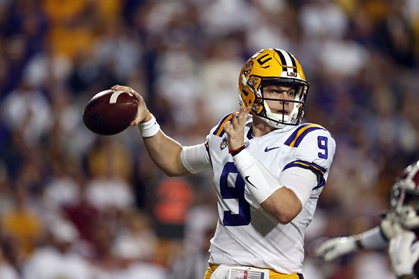 LSU quarterback Joe Burrow (9) passes in the first half of an NCAA college football game against Alabama in Baton Rouge, La., Saturday, Nov. 3, 2018. (AP Photo/Gerald Herbert)