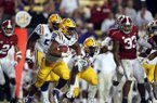 LSU running back Clyde Edwards-Helaire (22) carries in the second half of an NCAA college football game against Alabama in Baton Rouge, La., Saturday, Nov. 3, 2018. Alabama won 29-0. (AP Photo/Gerald Herbert)