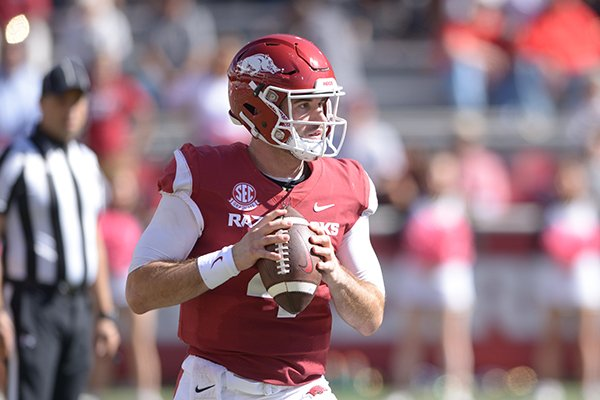 Arkansas quarterback Ty Storey looks to pass during a game against Vanderbilt on Saturday, Oct. 27, 2018, in Fayetteville. The Razorbacks lost 45-31.