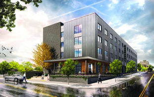 Hotel: This image shows an artist rendering of the Haywood Hotel, which is slated for an opening in March 2020.