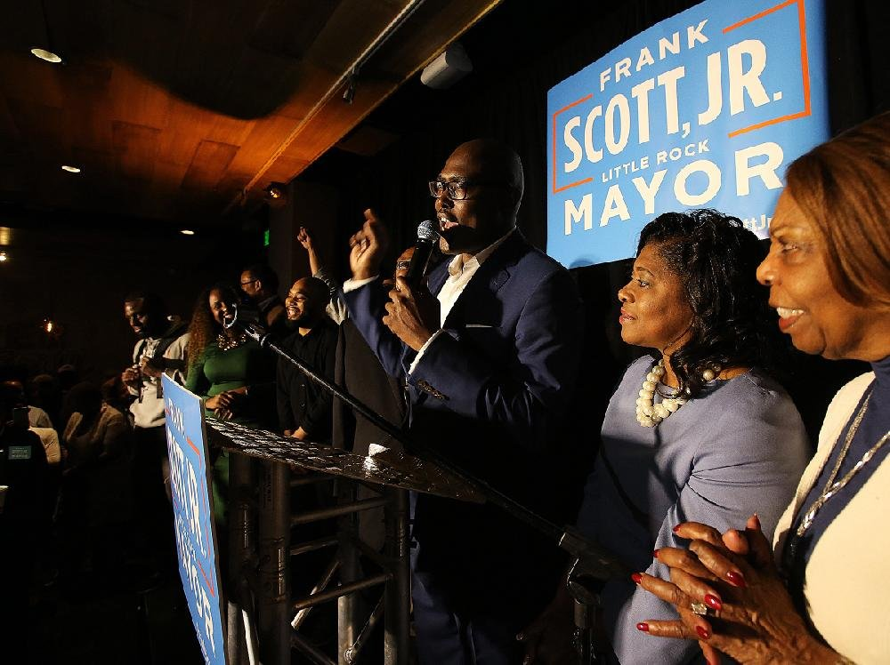Little Rock mayoral candidate Frank Scott Jr. speaks to his supporters at Copper Grill in Little Rock in this Nov. 6, 2018 photo.